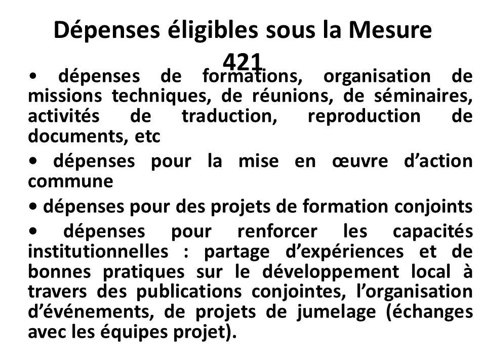 Dépenses éligibles sous la Mesure 421 dépenses de formations, organisation de missions techniques, de réunions, de séminaires, activités de traduction