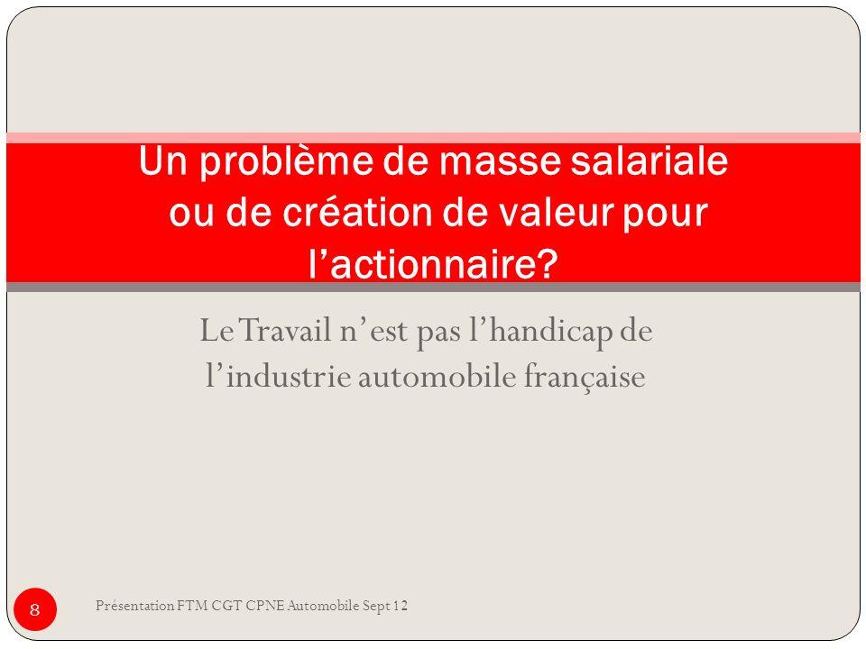 Le Travail nest pas lhandicap de lindustrie automobile française Présentation FTM CGT CPNE Automobile Sept 12 8 Un problème de masse salariale ou de c