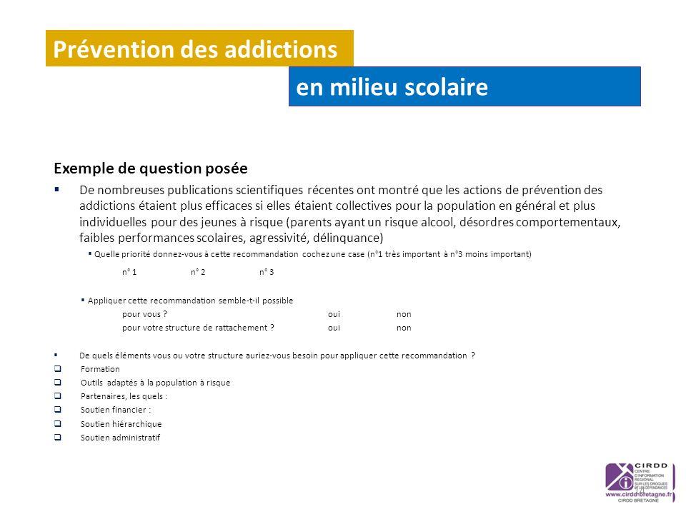 Exemple de question posée De nombreuses publications scientifiques récentes ont montré que les actions de prévention des addictions étaient plus effic