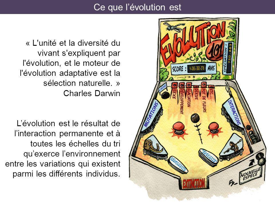 Ce que lévolution est « L'unité et la diversité du vivant s'expliquent par l'évolution, et le moteur de l'évolution adaptative est la sélection nature