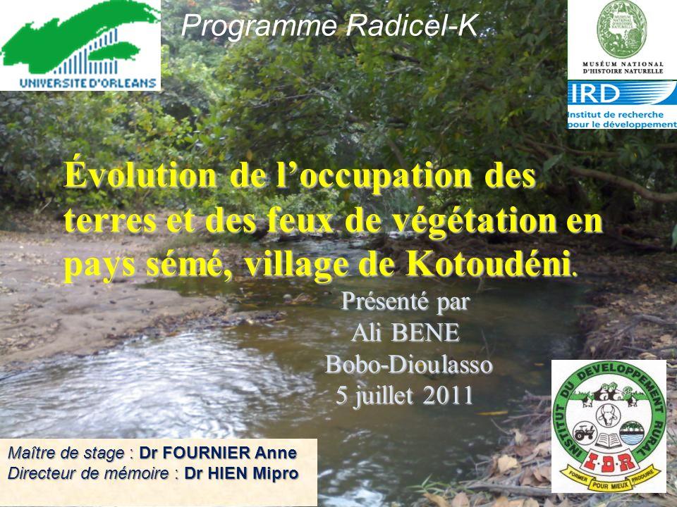Évolution de loccupation des terres et des feux de végétation en pays sémé, village de Kotoudéni.