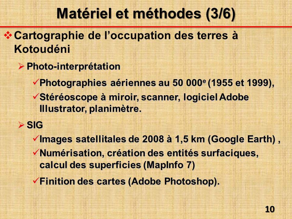 Cartographie de loccupation des terres à Kotoudéni Photo-interprétation Photo-interprétation Photographies aériennes au 50 000 e (1955 et 1999), Photographies aériennes au 50 000 e (1955 et 1999), Stéréoscope à miroir, scanner, logiciel Adobe Illustrator, planimètre.