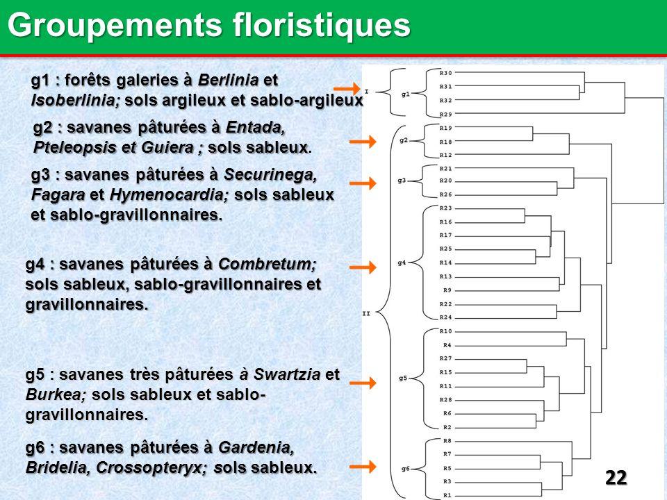 g1 : forêts galeries à Berlinia et Isoberlinia; sols argileux et sablo-argileux g2 : savanes pâturées à Entada, Pteleopsis et Guiera ; sols sableux g2 : savanes pâturées à Entada, Pteleopsis et Guiera ; sols sableux.