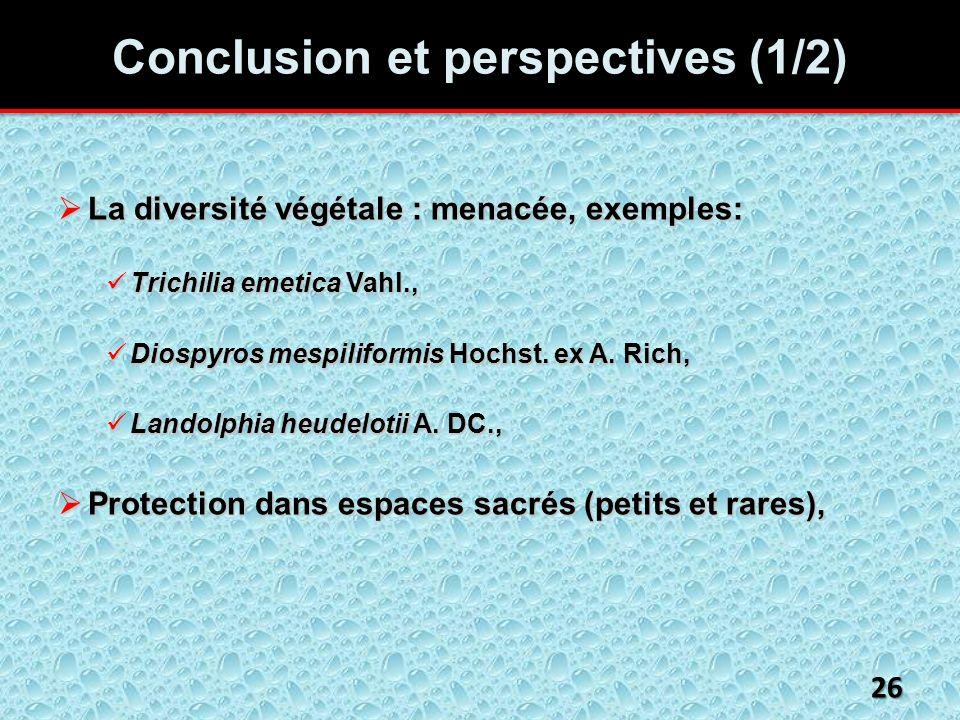 Conclusion et perspectives (1/2) La diversité végétale : menacée, exemples: La diversité végétale : menacée, exemples: Trichilia emetica Vahl., Trichilia emetica Vahl., Diospyros mespiliformis Hochst.