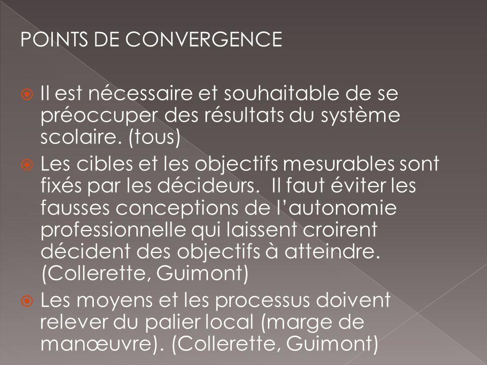 POINTS DE CONVERGENCE Il est nécessaire et souhaitable de se préoccuper des résultats du système scolaire. (tous) Les cibles et les objectifs mesurabl
