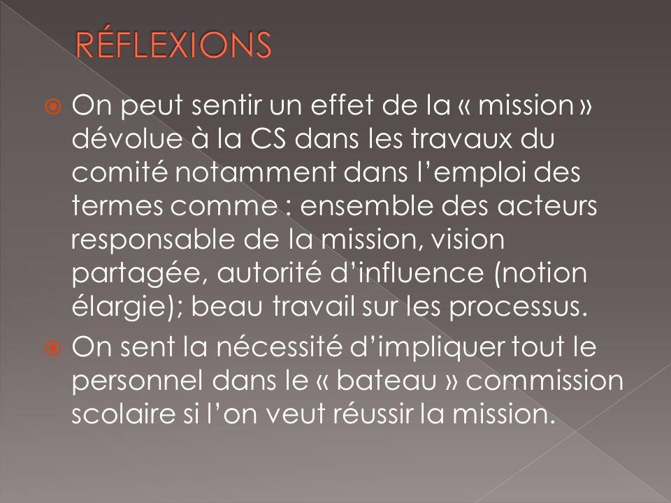 On peut sentir un effet de la « mission » dévolue à la CS dans les travaux du comité notamment dans lemploi des termes comme : ensemble des acteurs responsable de la mission, vision partagée, autorité dinfluence (notion élargie); beau travail sur les processus.
