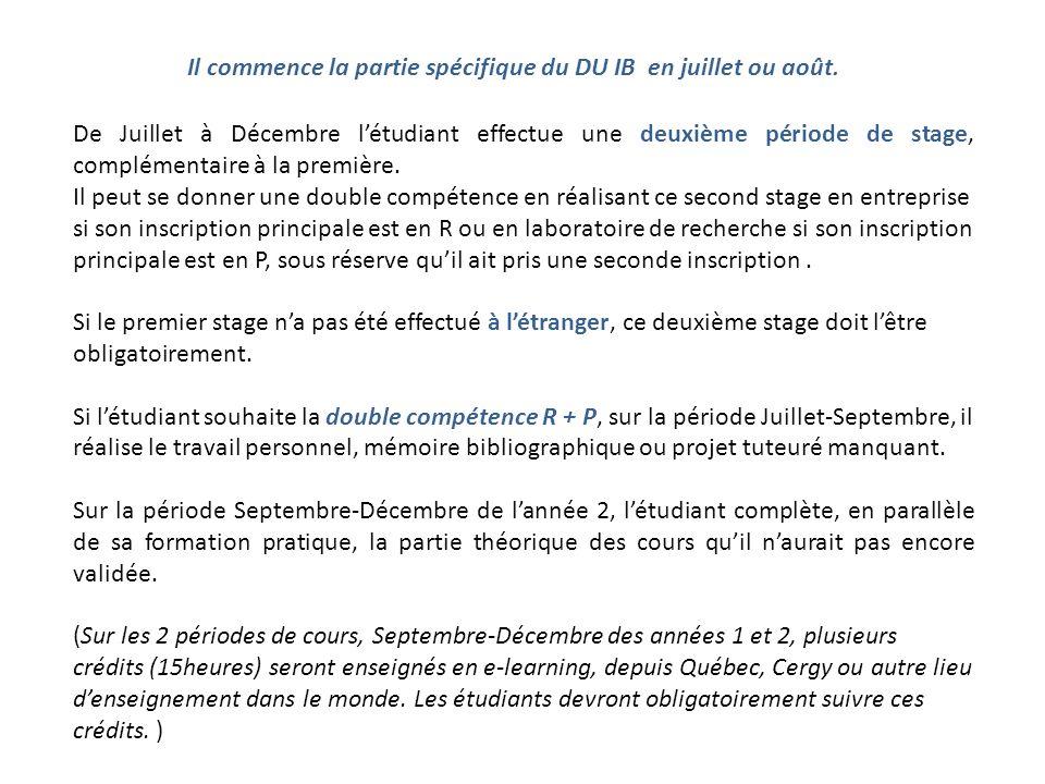 Il commence la partie spécifique du DU IB en juillet ou août.
