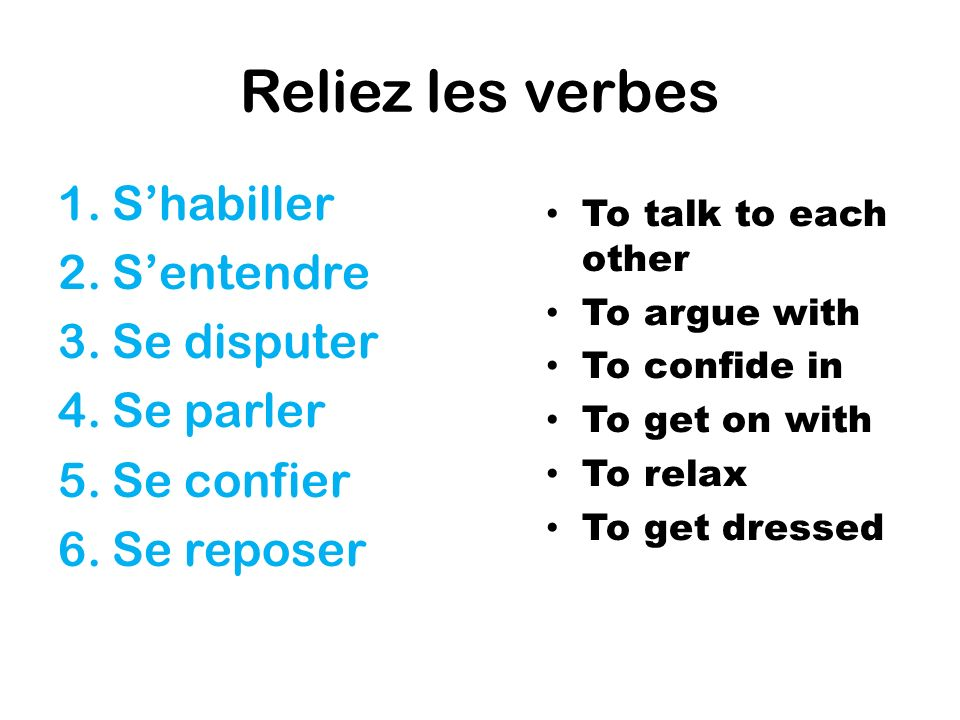 Reliez les verbes 1.Shabiller 2.Sentendre 3.Se disputer 4.Se parler 5.Se confier 6.Se reposer To talk to each other To argue with To confide in To get on with To relax To get dressed