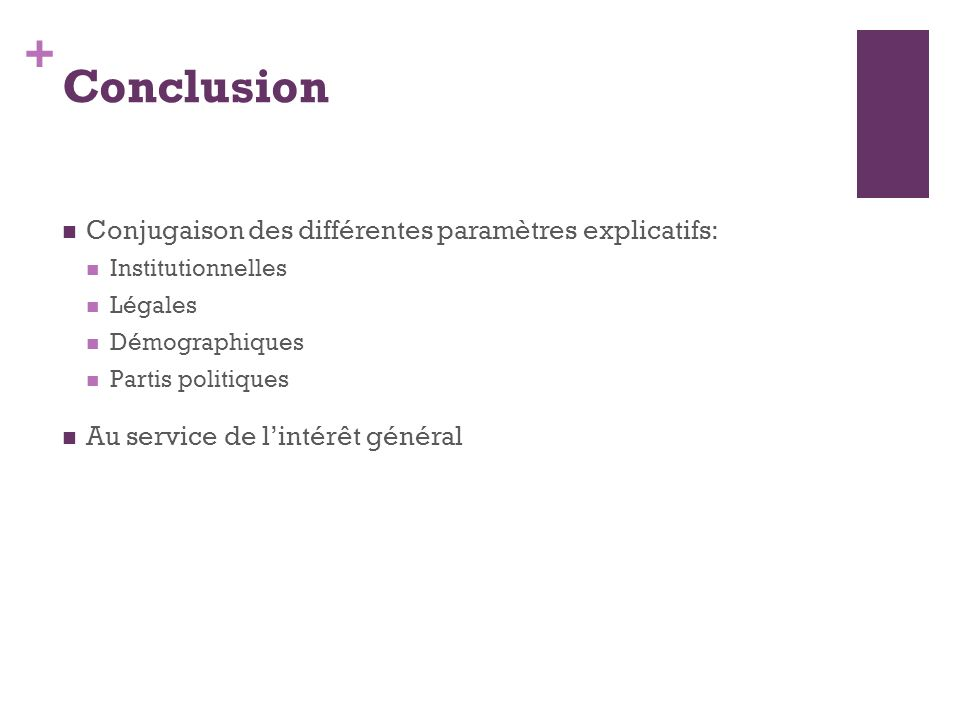 + Conclusion Conjugaison des différentes paramètres explicatifs: Institutionnelles Légales Démographiques Partis politiques Au service de lintérêt gén