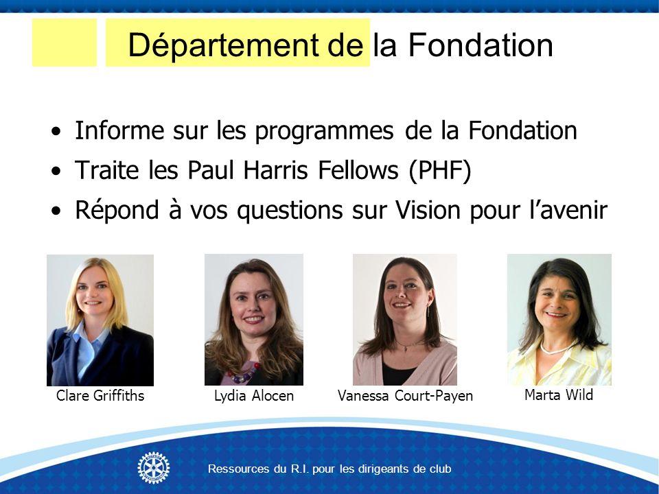 Informe sur les programmes de la Fondation Traite les Paul Harris Fellows (PHF) Répond à vos questions sur Vision pour lavenir Vanessa Court-PayenLydia Alocen Marta Wild Clare Griffiths Département de la Fondation Ressources du R.I.