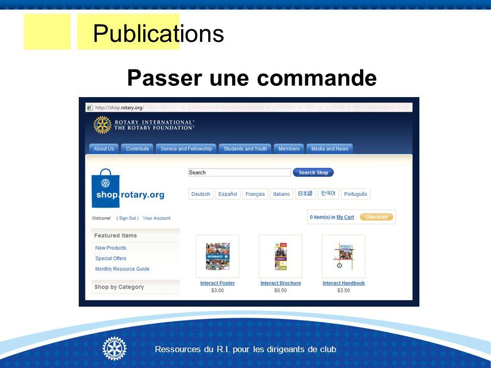 Passer une commande Publications Ressources du R.I. pour les dirigeants de club