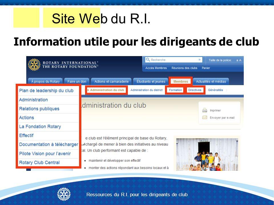 Information utile pour les dirigeants de club Site Web du R.I.