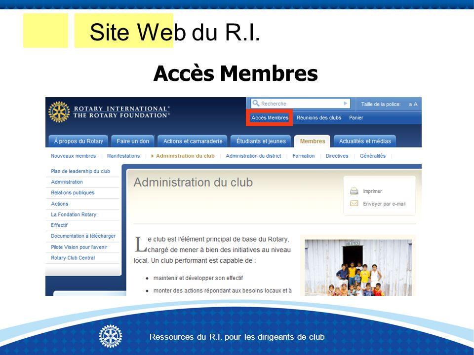 Site Web du R.I. Accès Membres Ressources du R.I. pour les dirigeants de club
