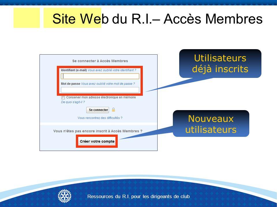 Nouveaux utilisateurs Utilisateurs déjà inscrits Site Web du R.I.– Accès Membres Ressources du R.I.