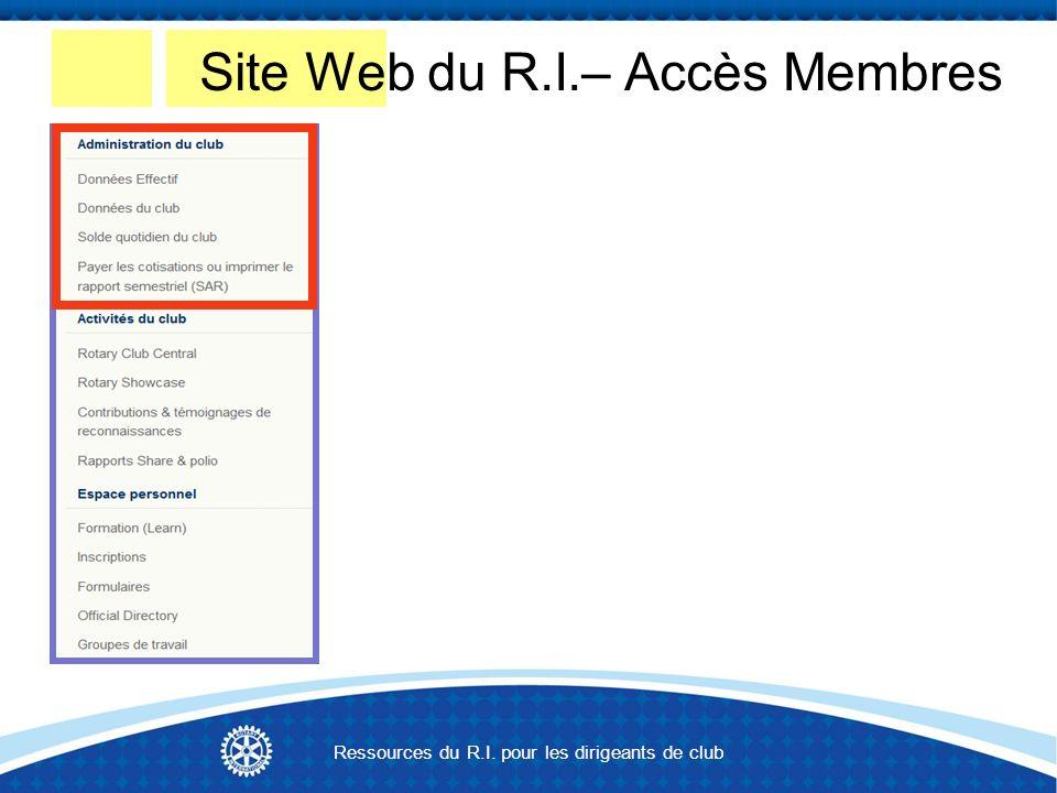 Site Web du R.I.– Accès Membres Ressources du R.I. pour les dirigeants de club