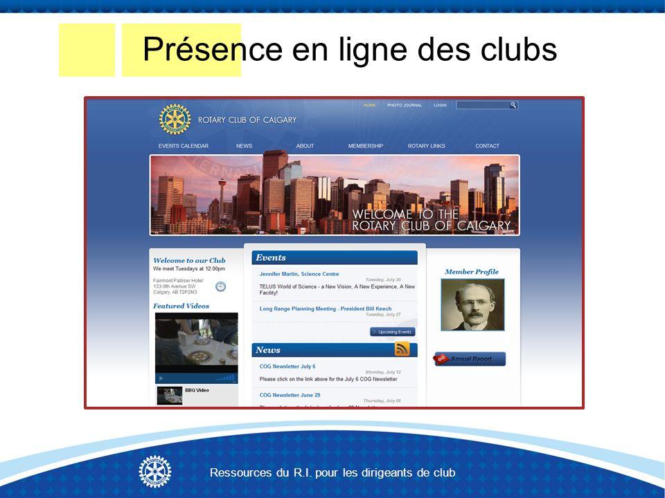 Présence en ligne des clubs Ressources du R.I. pour les dirigeants de club