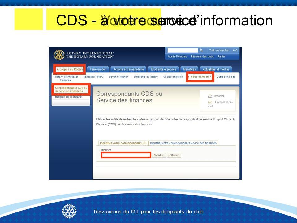 CDS - Votre source dinformationCDS - à votre service Ressources du R.I. pour les dirigeants de club