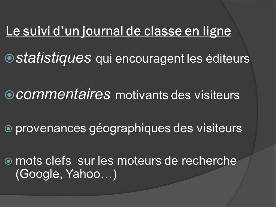 Le suivi dun journal de classe en ligne statistiques qui encouragent les éditeurs commentaires motivants des visiteurs provenances géographiques des visiteurs mots clefs sur les moteurs de recherche (Google, Yahoo…)