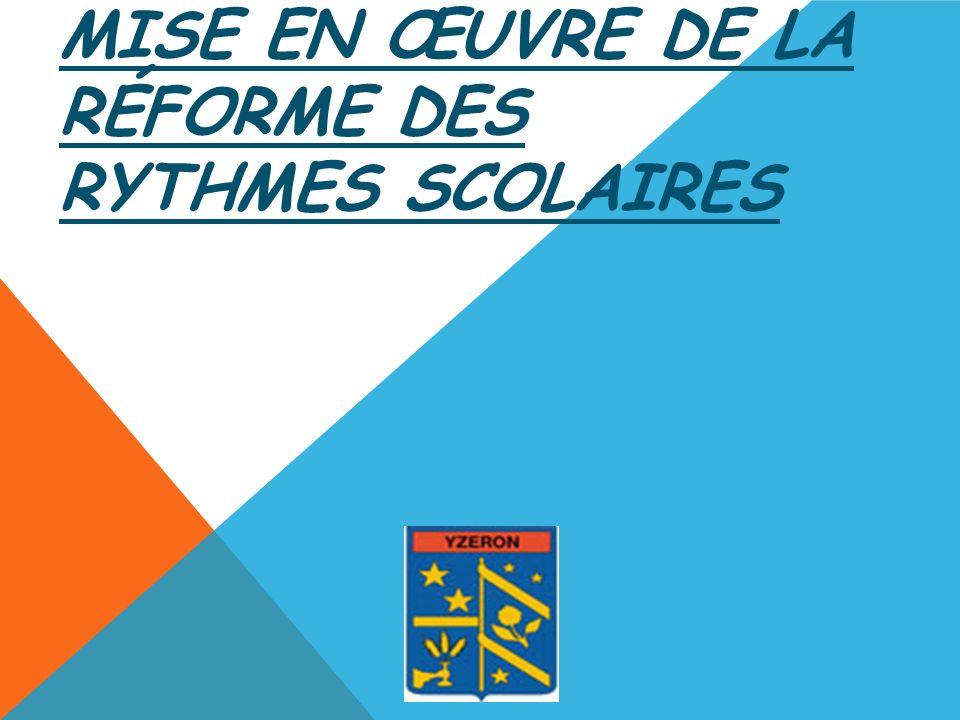 MISE EN ŒUVRE DE LA RÉFORME DES RYTHMES SCOLAIRES