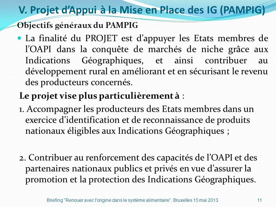 V. Projet dAppui à la Mise en Place des IG (PAMPIG) Objectifs généraux du PAMPIG La finalité du PROJET est dappuyer les Etats membres de lOAPI dans la