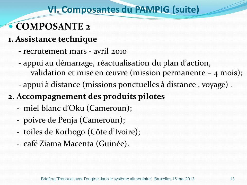 VI. Composantes du PAMPIG (suite) COMPOSANTE 2 1. Assistance technique - recrutement mars - avril 2010 - appui au démarrage, réactualisation du plan d