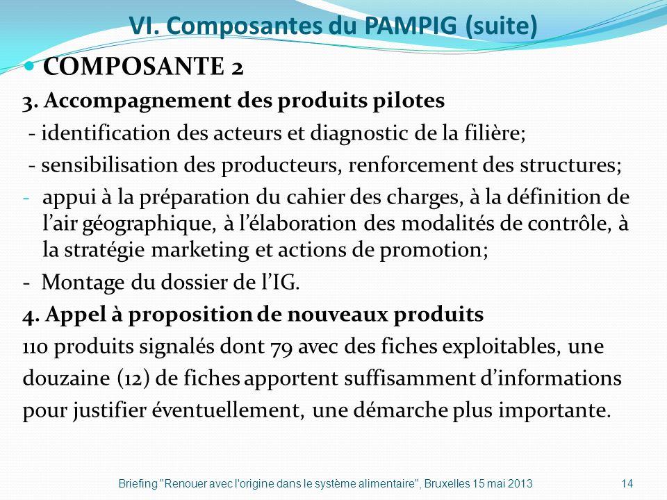 VI. Composantes du PAMPIG (suite) COMPOSANTE 2 3. Accompagnement des produits pilotes - identification des acteurs et diagnostic de la filière; - sens