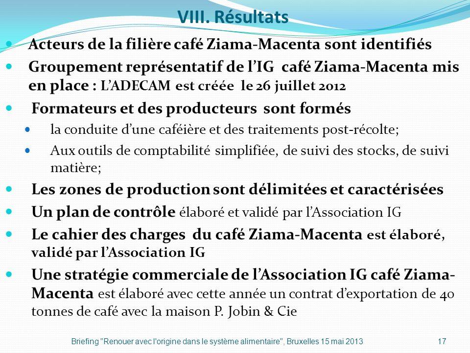 VIII. Résultats Acteurs de la filière café Ziama-Macenta sont identifiés Groupement représentatif de lIG café Ziama-Macenta mis en place : LADECAM est