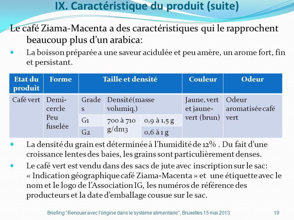 IX. Caractéristique du produit (suite) Le café Ziama-Macenta a des caractéristiques qui le rapprochent beaucoup plus dun arabica: La boisson préparée