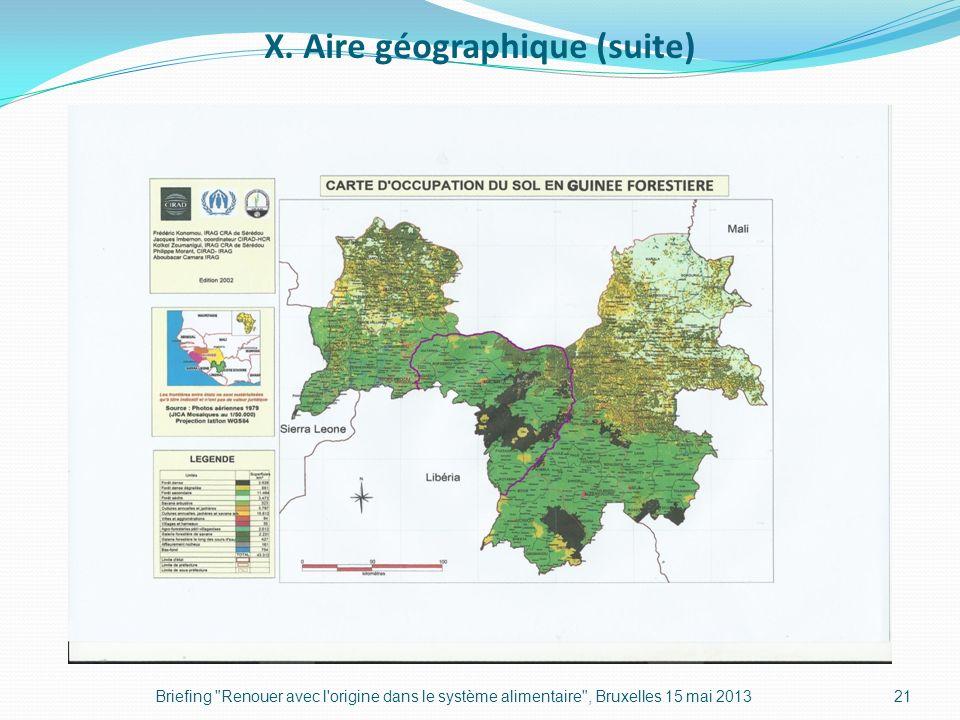 X. Aire géographique (suite) Briefing