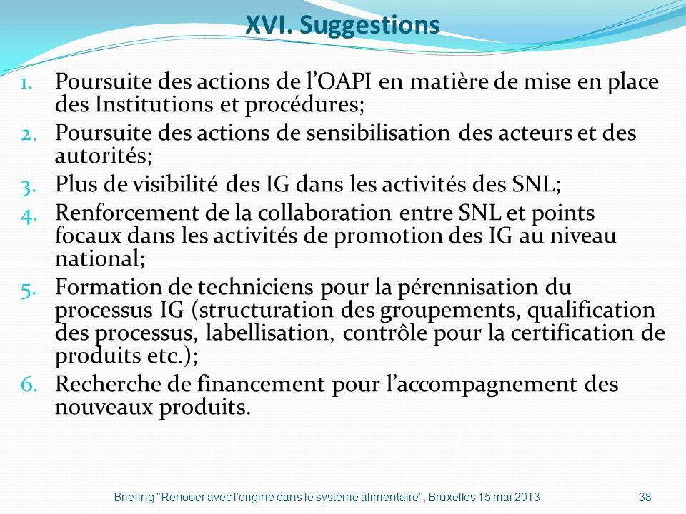 XVI. Suggestions 1. Poursuite des actions de lOAPI en matière de mise en place des Institutions et procédures; 2. Poursuite des actions de sensibilisa