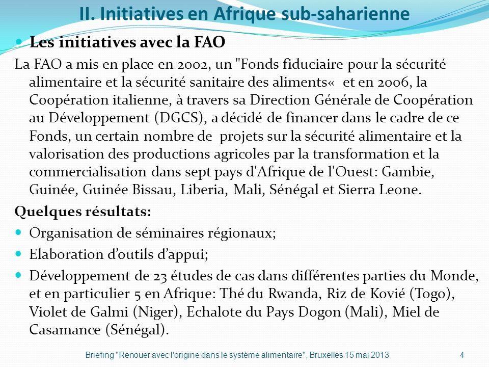 II. Initiatives en Afrique sub-saharienne Les initiatives avec la FAO La FAO a mis en place en 2002, un