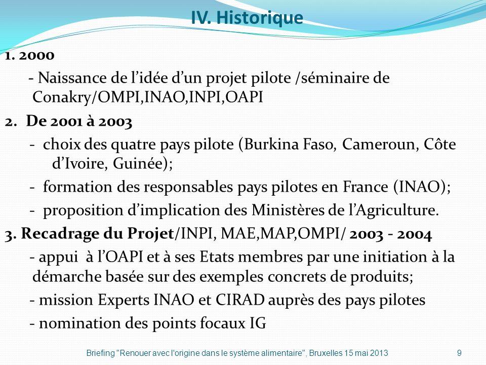 IV. Historique 1. 2000 - Naissance de lidée dun projet pilote /séminaire de Conakry/OMPI,INAO,INPI,OAPI 2. De 2001 à 2003 - choix des quatre pays pilo