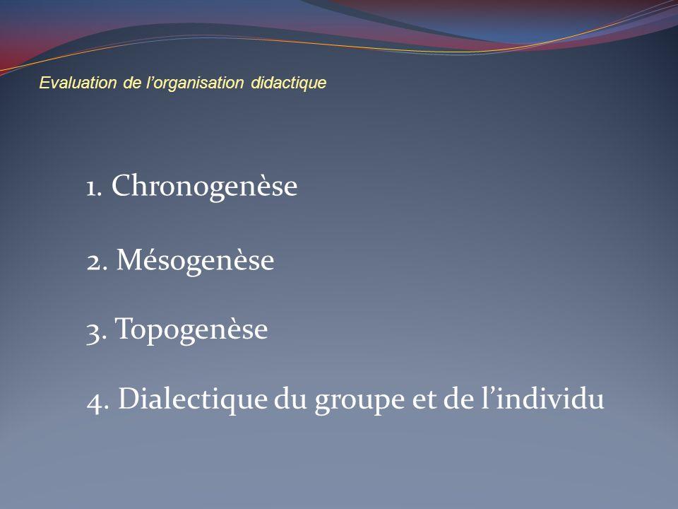 Evaluation de lorganisation didactique 1. Chronogenèse 2. Mésogenèse 3. Topogenèse 4. Dialectique du groupe et de lindividu