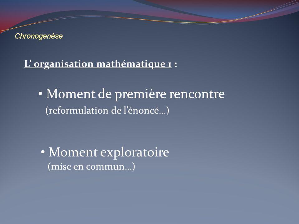Chronogenèse L organisation mathématique 1 : Moment de première rencontre Moment exploratoire (reformulation de lénoncé…) (mise en commun…)