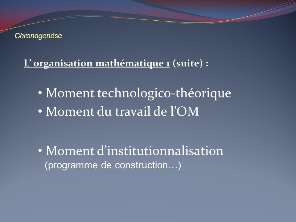 Chronogenèse L organisation mathématique 1 (suite) : Moment technologico-théorique Moment dinstitutionnalisation Moment du travail de lOM (programme d