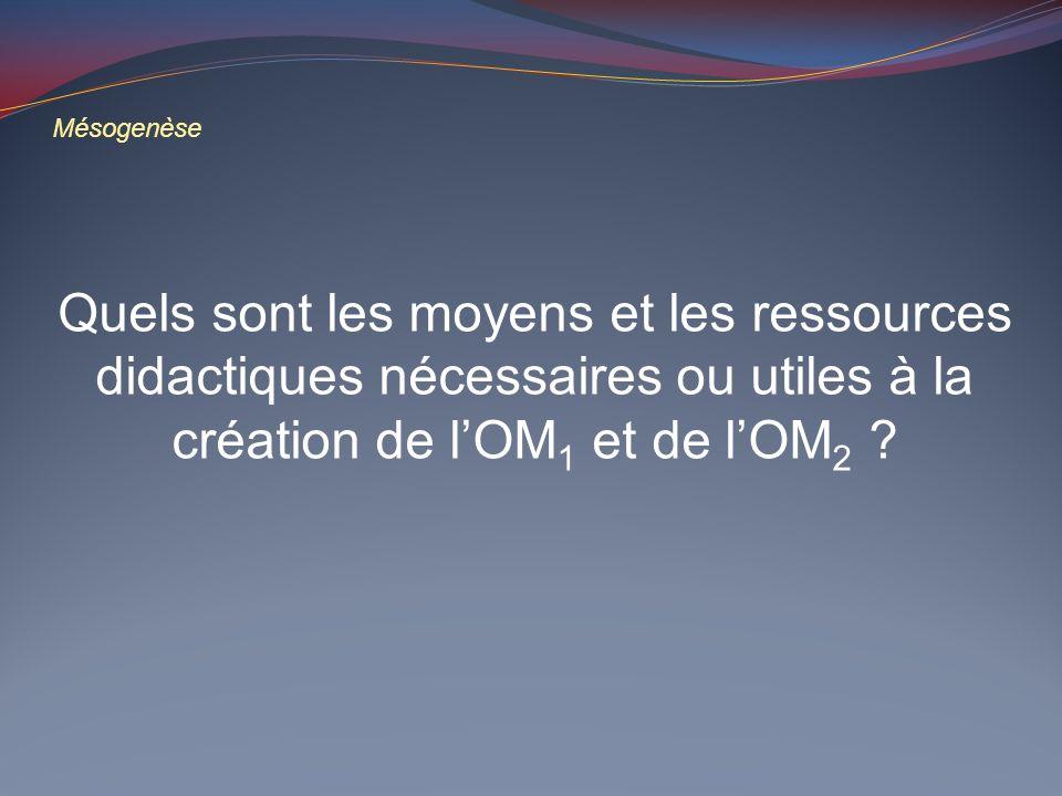 Mésogenèse Quels sont les moyens et les ressources didactiques nécessaires ou utiles à la création de lOM 1 et de lOM 2 ?