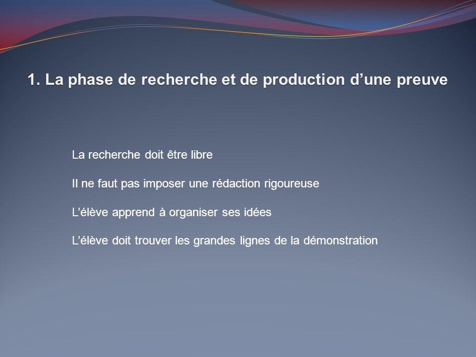 1.La phase de recherche et de production dune preuve La recherche doit être libre Il ne faut pas imposer une rédaction rigoureuse Lélève apprend à org