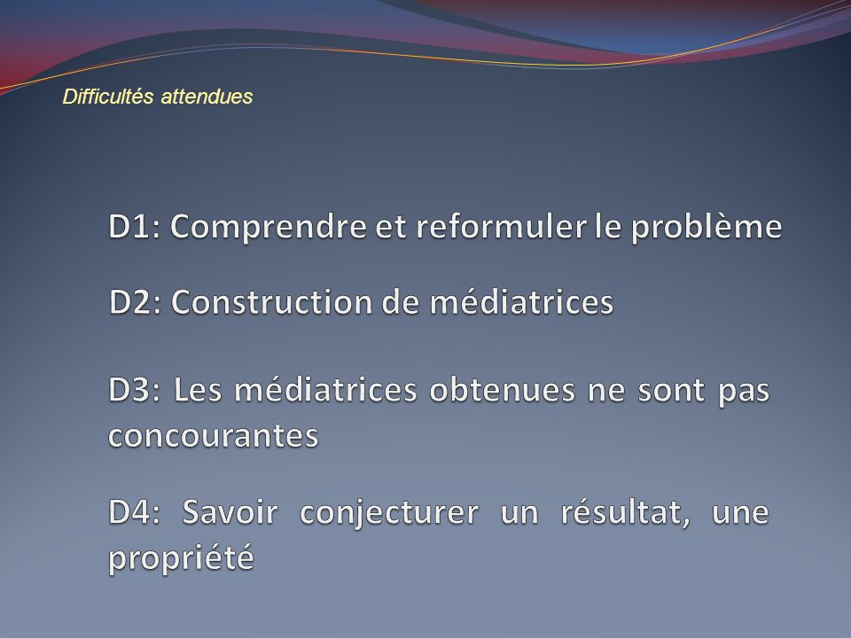 Difficultés attendues