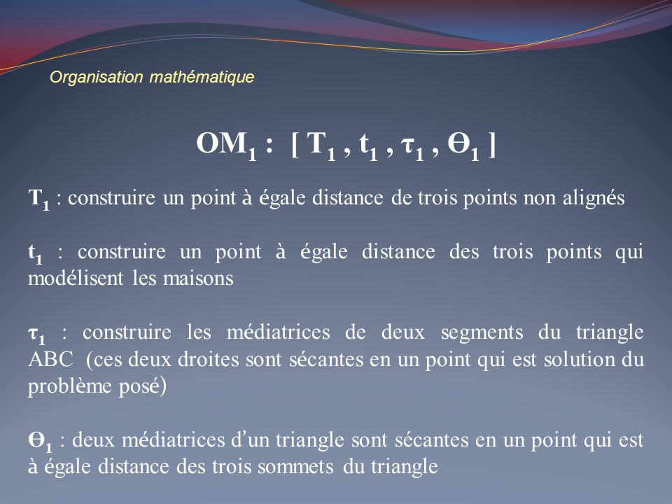 Organisation mathématique T 1 : construire un point à é gale distance de trois points non align é s t 1 : construire un point à é gale distance des tr