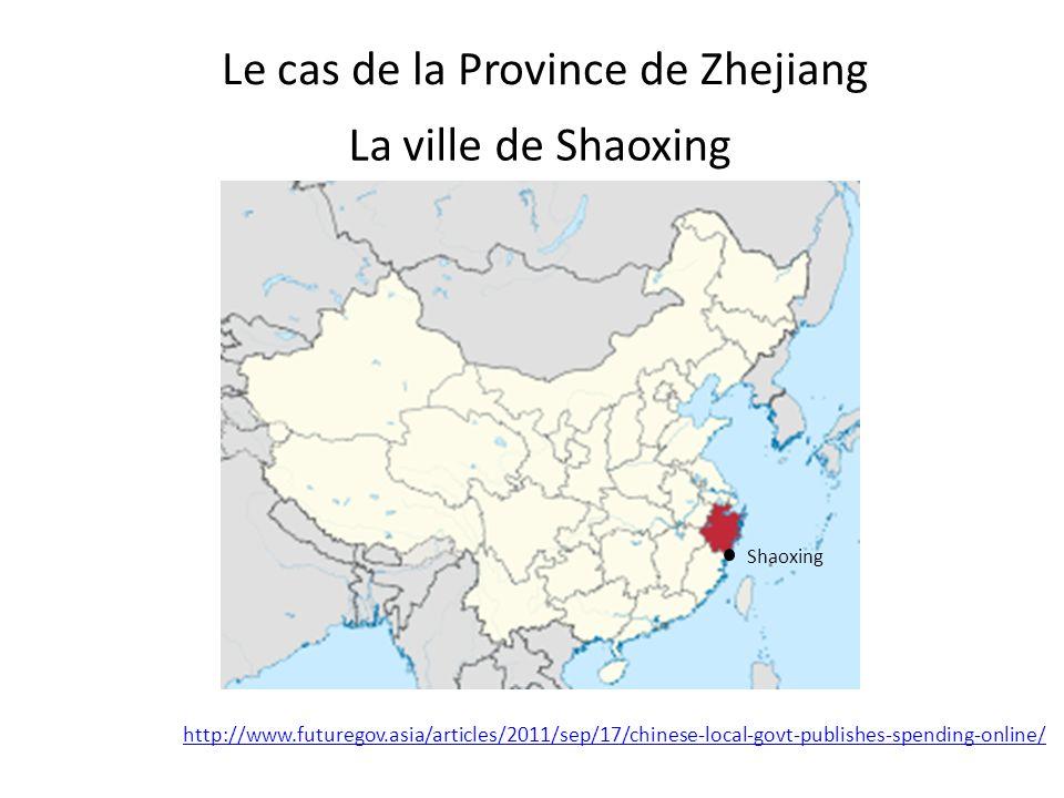 Le cas de la Province de Zhejiang Shaoxing La ville de Shaoxing http://www.futuregov.asia/articles/2011/sep/17/chinese-local-govt-publishes-spending-online/