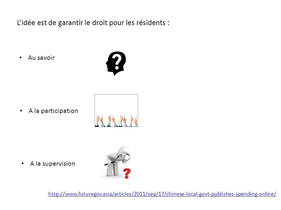Lidée est de garantir le droit pour les résidents : Au savoir A la participation A la supervision http://www.futuregov.asia/articles/2011/sep/17/chinese-local-govt-publishes-spending-online/