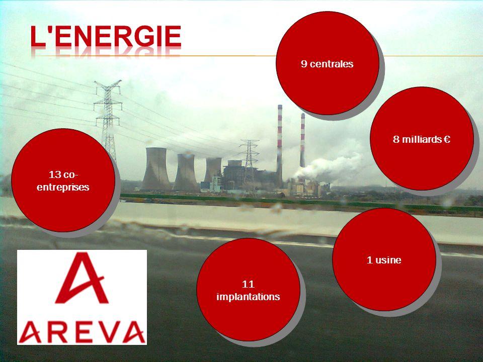 11 implantations 13 co- entreprises 9 centrales 1 usine 8 milliards