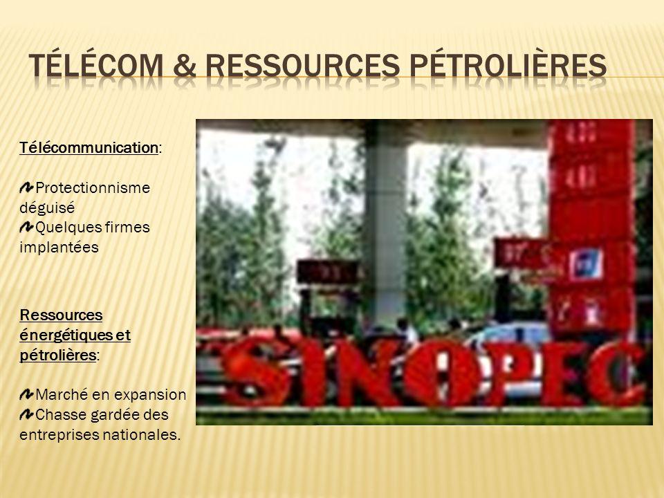 Télécommunication: Protectionnisme déguisé Quelques firmes implantées Ressources énergétiques et pétrolières: Marché en expansion Chasse gardée des entreprises nationales.