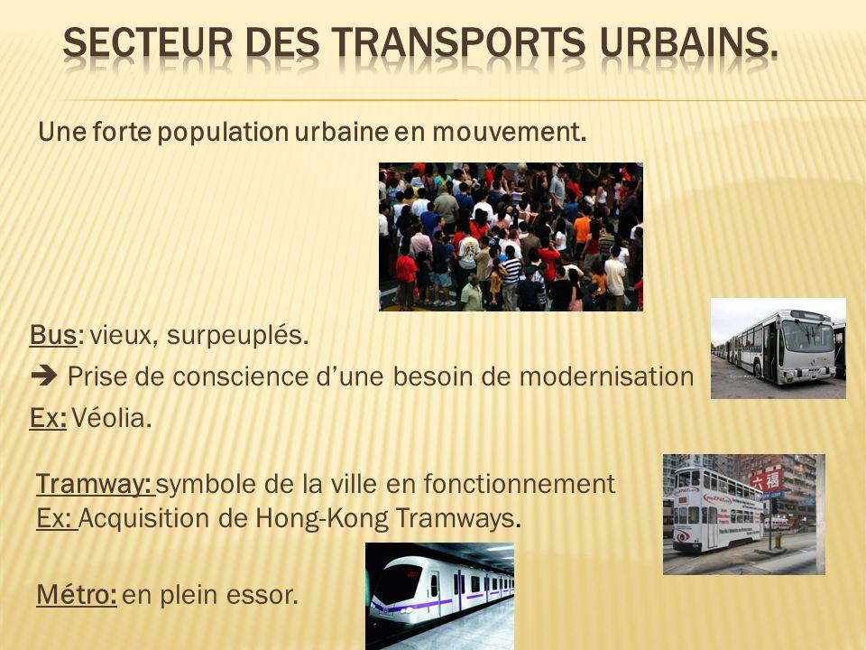 Une forte population urbaine en mouvement.Bus: vieux, surpeuplés.