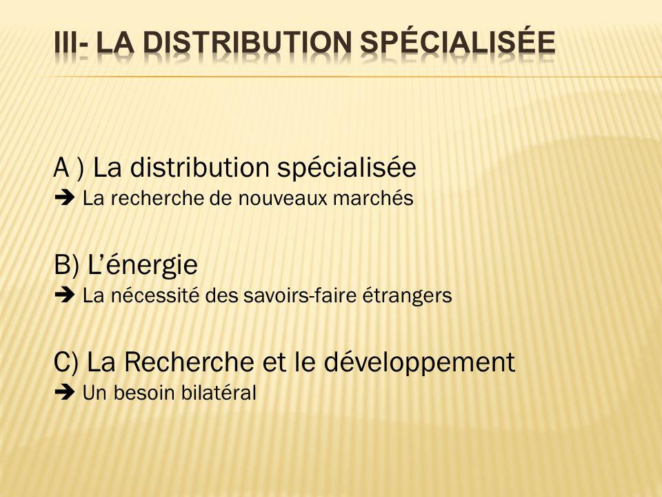 A ) La distribution spécialisée La recherche de nouveaux marchés B) Lénergie La nécessité des savoirs-faire étrangers C) La Recherche et le développement Un besoin bilatéral