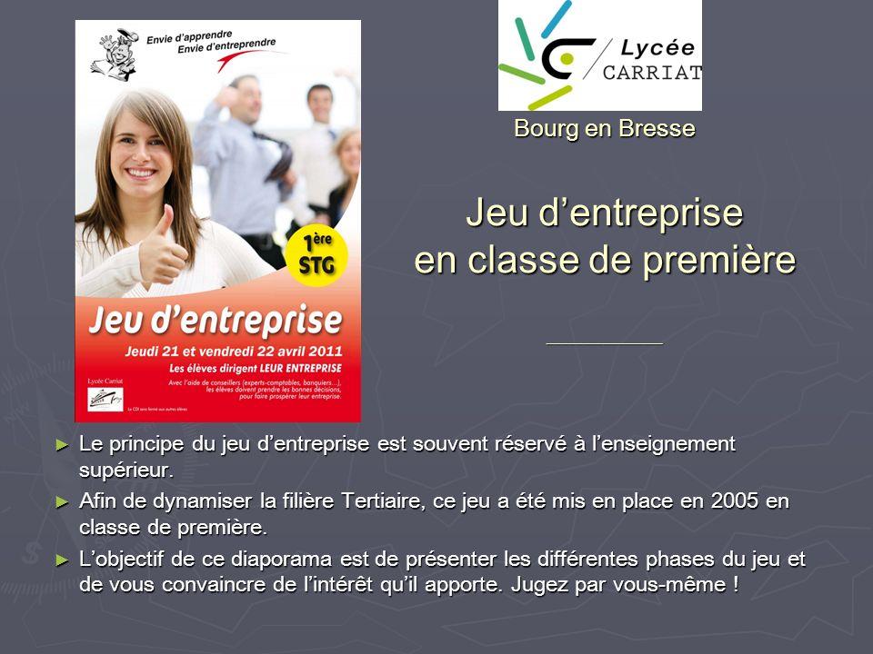 Bourg en Bresse Jeu dentreprise en classe de première _________________ Le principe du jeu dentreprise est souvent réservé à lenseignement supérieur.
