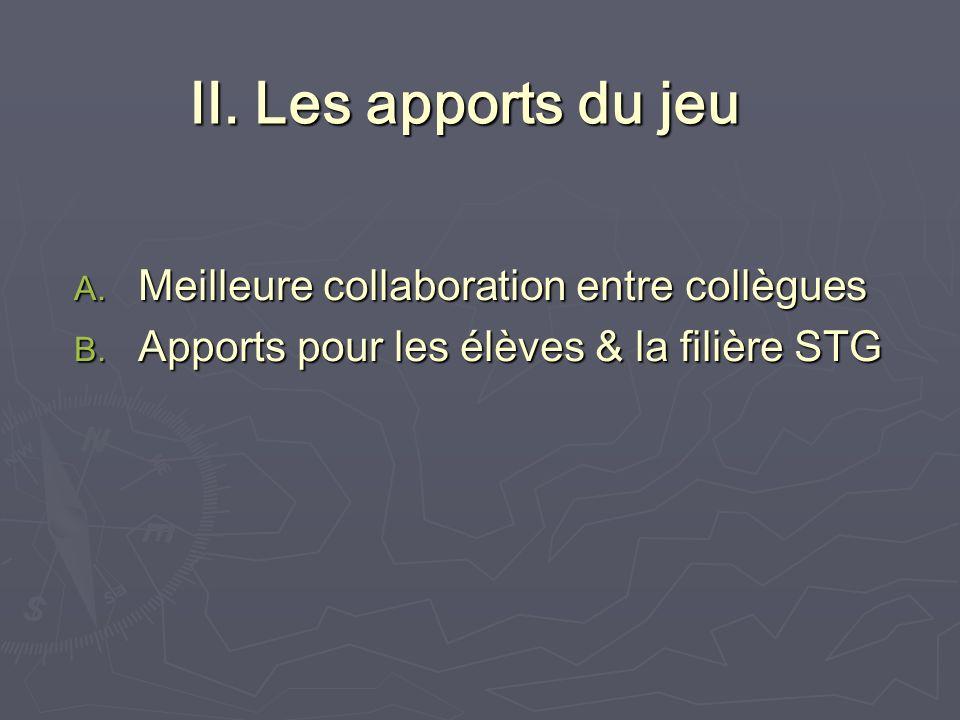 II. Les apports du jeu A. Meilleure collaboration entre collègues B.