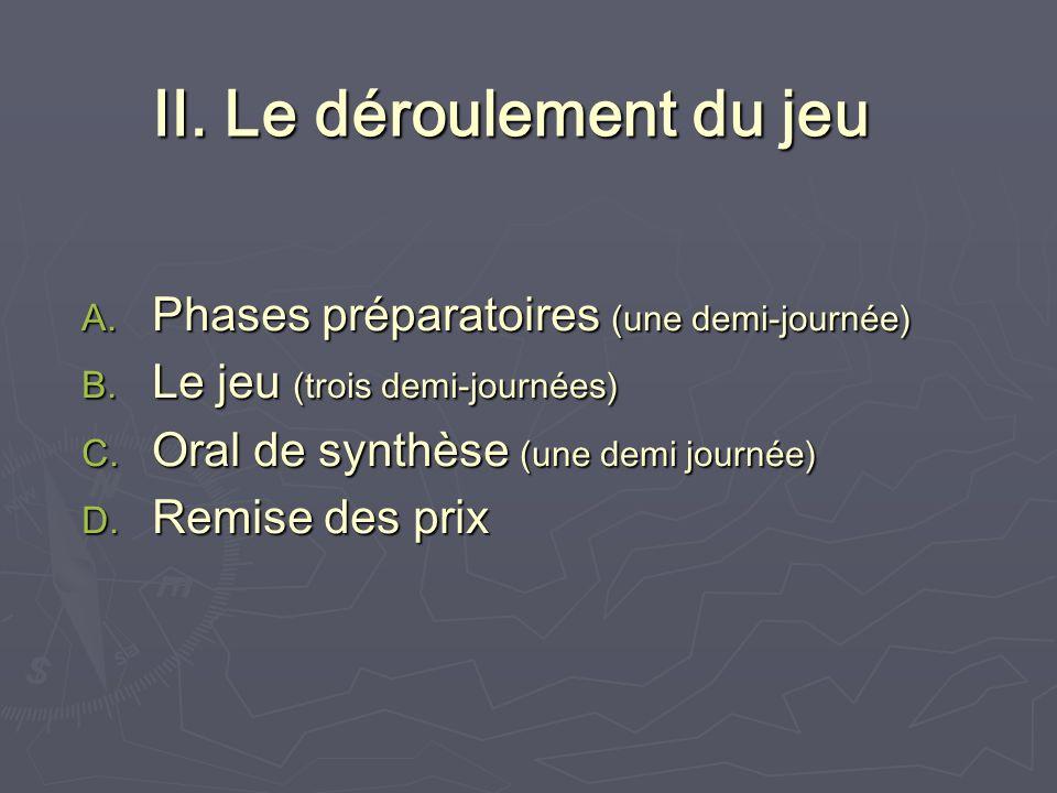 II. Le déroulement du jeu A. Phases préparatoires (une demi-journée) B.