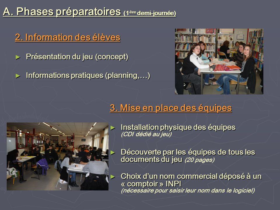 2. Information des élèves Présentation du jeu (concept) Présentation du jeu (concept) Informations pratiques (planning,…) Informations pratiques (plan