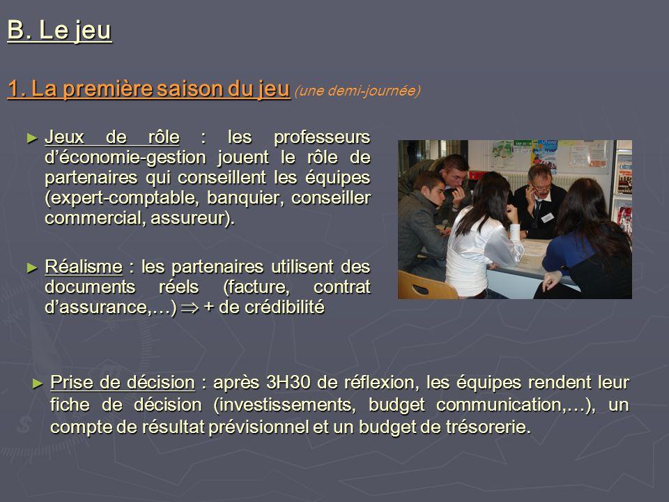 B. Le jeu Jeux de rôle : les professeurs déconomie-gestion jouent le rôle de partenaires qui conseillent les équipes (expert-comptable, banquier, cons